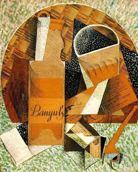 Juan Gris, Bottle of Banyuls, 1914.