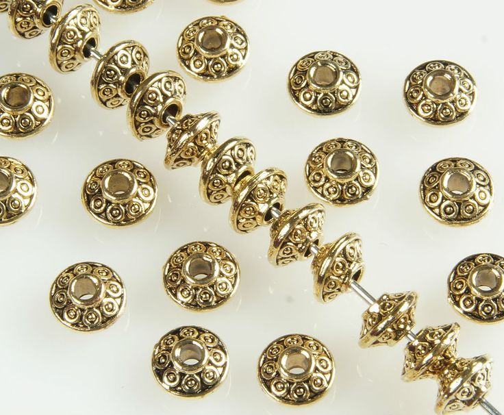 50  x  ANTIQUE GOLD~BICONE~ TIBETAN STYLE~SPACER BEADS,  6.5  x  4 MM