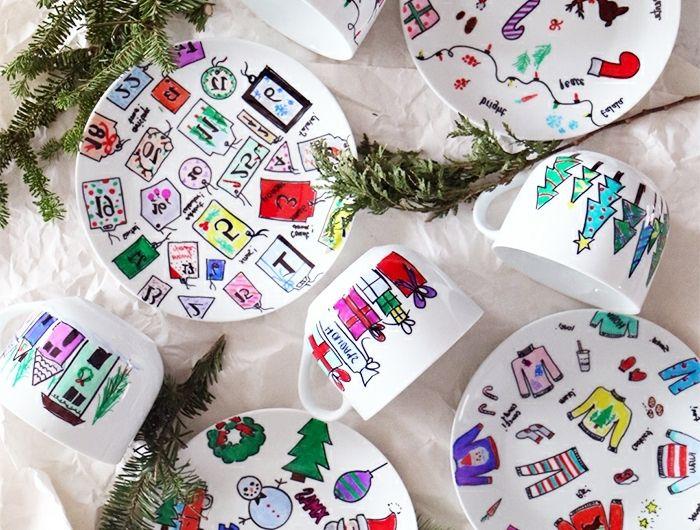 Geschirr anmalen, DIY Ideen für Kinder und Erwachsene, Weihnachtsgeschenke selber machen