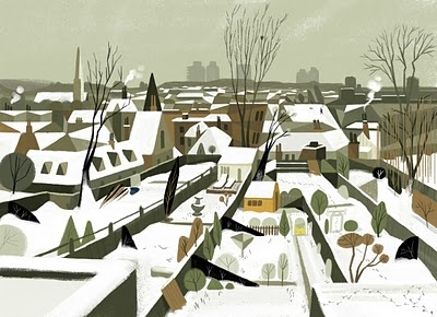 Thick snow in London: Illustration by Matthew Cruickshank #illustration #winter #matthew_cruickshank