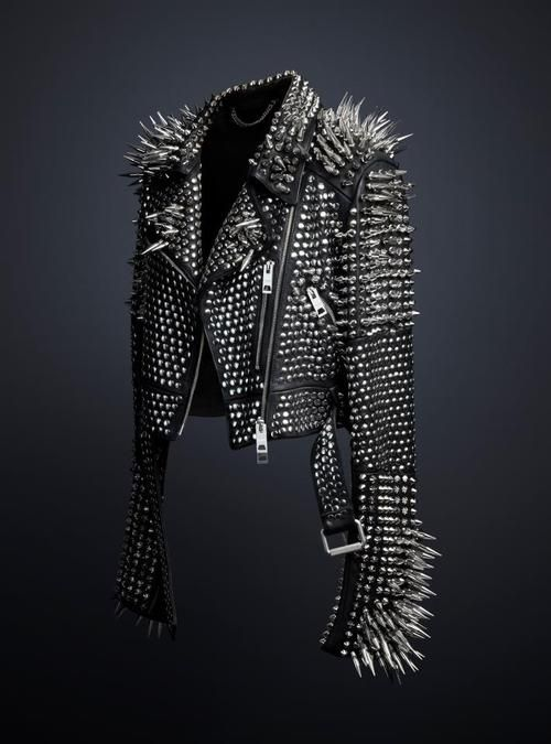 The studded leather jacket designed exclusively by Chief Creative Officer Christopher Bailey, available to view at the Met Museum's 'Punk: Chaos to Couture' exhibition