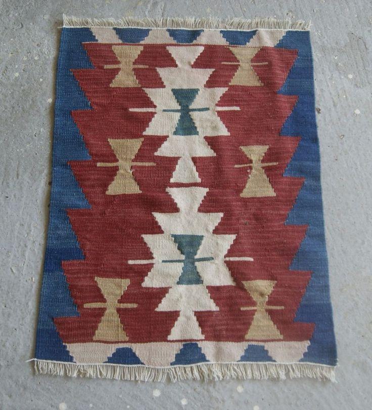 22x30 in. Small Oushak Kilim, Red and Blue Kilim Rug, Oriental Turkish Rug #RugToGo