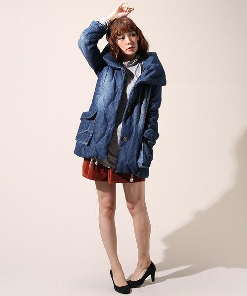 デニムのダウンコート!冬のファッションアイテム デニムコート コーデを集めました♪