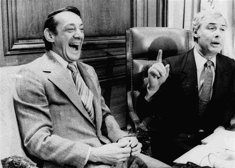 Harvey Milk & George Moscone signing the gay rights bill into law,   San Francisco 1977