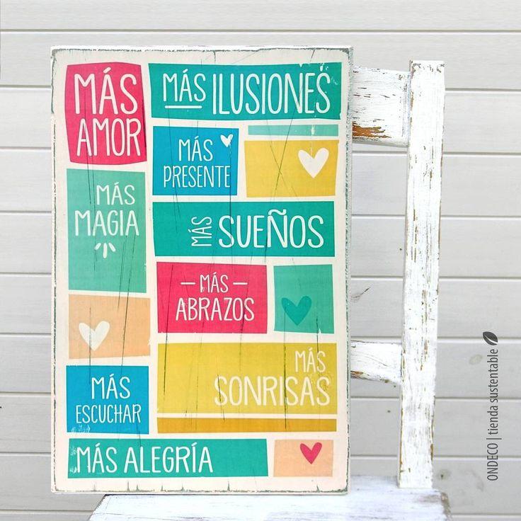Cuadro vintage con frase -  Más amor en colores