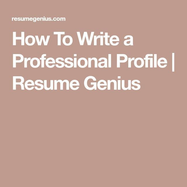 How To Write A Professional Profile | Resume Genius #Resumetips  Professional Profile On Resume