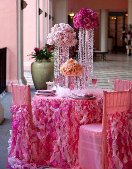 Mariage rose kitsh decoration