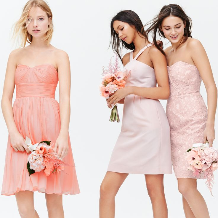 Weddings & Parties: J.Crew Marbella strapless bridesmaid dress in misty rose silk chiffon. J.Crew Lexie bridesmaid dress in shell pink classic faille. J.Crew Kelsey strapless bridesmaid dress in light mauve leavers lace.