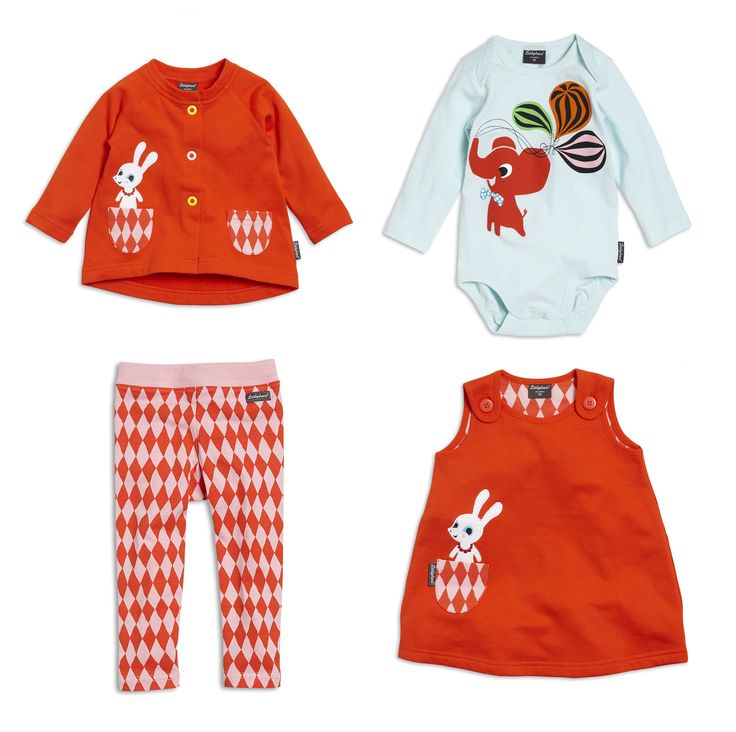 selection of childrenswear by Littlephant-  love rabbit print coming out of the pocket