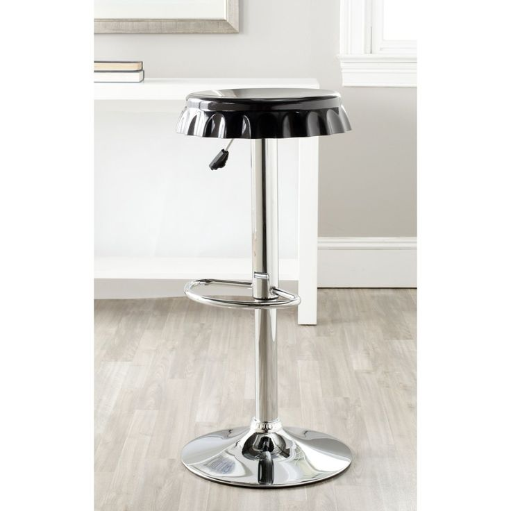 Safavieh Bunky Black Adjustable 24-32-inch Bar Stool (FOX7505B) (Chrome)