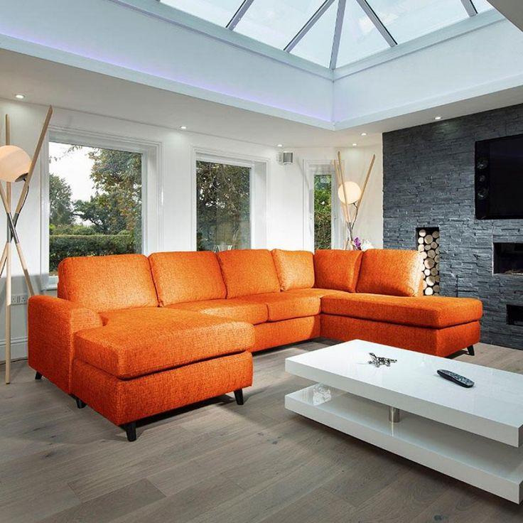 Large Modern Luxury Sofa/Settee 3x2mtr L Shape Corner Group R/H orange - Quatropi