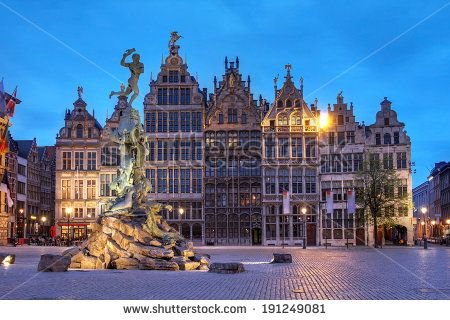 Guildhouses in Grote Markt (Big Market Square) in the old town of Antwerp, Belgium at twilight. - stock photo