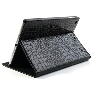 iPad Air Folio Läderfodral - Crocodile - Svart