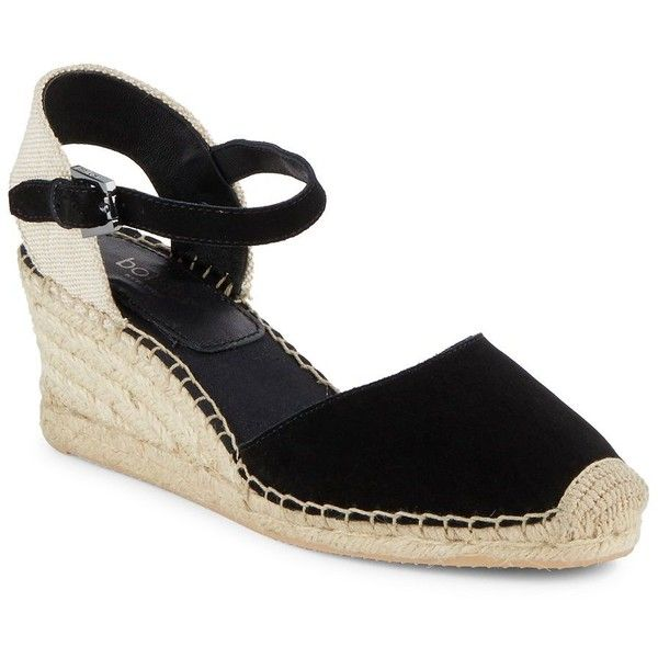 Botkier New York Elia Leather Espadrille Wedge Sandals (1.220 ARS) ❤ liked on Polyvore featuring shoes, sandals, black platform sandals, leather platform sandals, leather sandals, black leather espadrilles and black wedge espadrilles