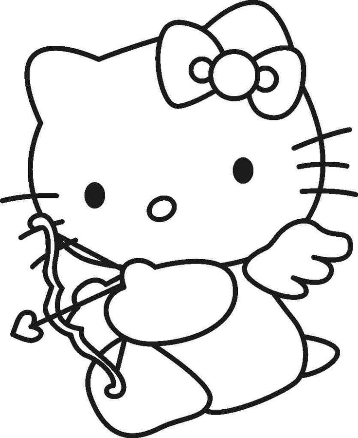 hello kitty cupid coloring for kids