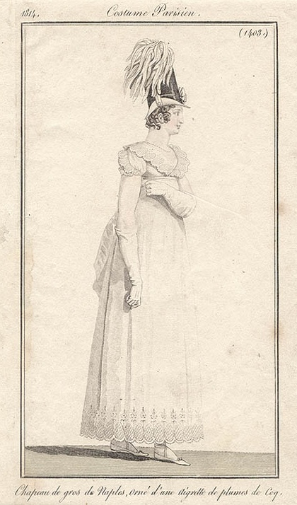 Costume Parisien, 1814. White gown with scalloped hem.