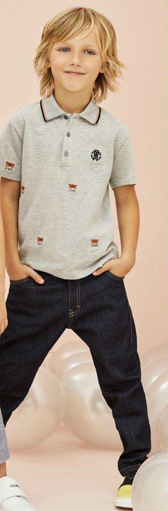 Cool! Roberto Cavalli Junior Boys Embellished Grey Tiger Polo Shirt Black Pants Spring Summer 2018. #robertocavalli #kidsfashion #boy #kids #cool #summer #style #fashion
