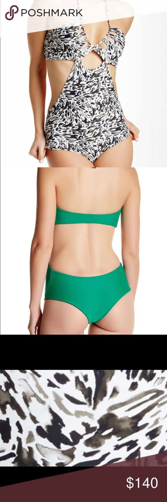 Mikoh Cloudbreak One-piece Leopard Shark Night NWT Mikoh Cloudbreak One piece. Green suit pic is what it looks like on the back. Leopard shark print is what I am selling. Ties on around neck. Very flattering cut. No trades. Mikoh Swim One Pieces