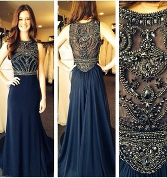 robe de soiree 2014 New Sexy Sleeveless Scoop Neckline Dark Blue Chiffon Beaded Evening Dresses Long Prom Gowns BO5235