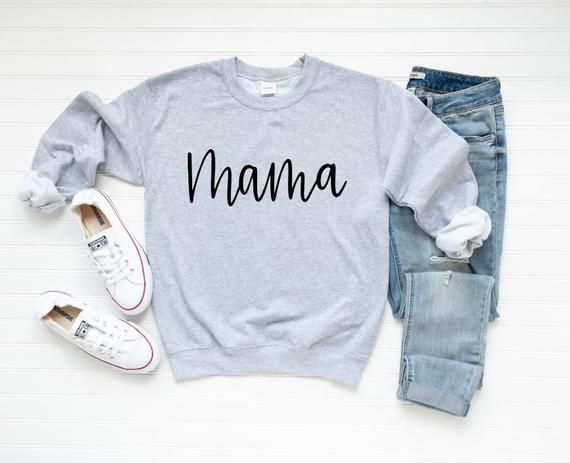 Mama Shirt // Mama Sweatshirt // Mom Apparel // Mom Life // Pregnancy Announcement Shirt // New Mom Gift // Clothing // Mom Graphic Tshirt Graphic Sweatshirt, Mama Shirt, Christian Shirts, Christian Apparel, Christian Clothing, Shirt Mockup, Silhouette, Mom Outfits, Larissa Reis