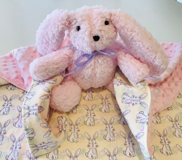Bunny Minky Baby Blanket, Easter Baby Blanket, Girl, Spring Baby Blanket, Nursery Gift, Baby's First Easter, Easter Bunny – Designs by Bonnie