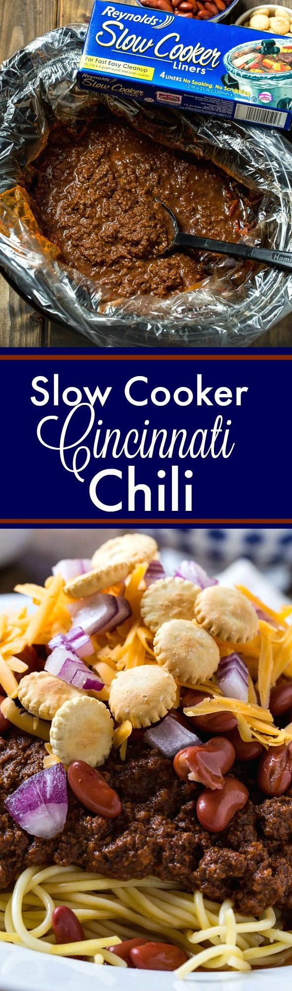 Slow Cooker Cincinnati Chili makes a comforting and economical meal. So easy to make and no cleanup if you use a Reynolds Slow Cooker Liner. #ad #ReynoldsCrowd