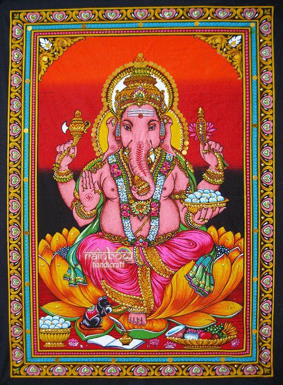 Hindu Ganesh Ganesha Sequin Wall Hanging Cotton Fabric
