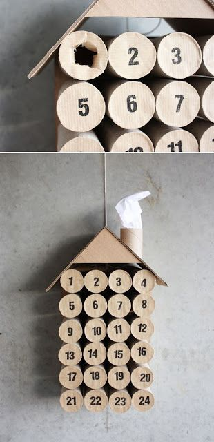 Home Life Organization: RECYCLED ADVENT IDEA would be cute with scrap wraping paper and in shape of Christmas tree instead of a house