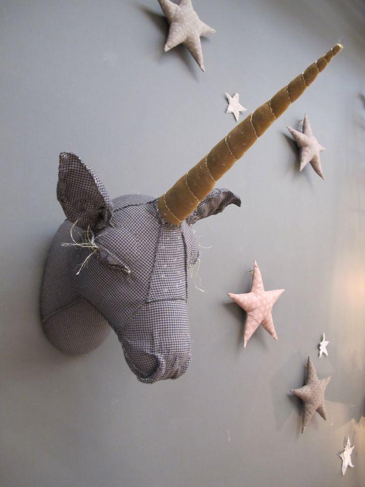 Désaccord, objets et autres curiosités en tissu: SerendipityChild Room, Faux Taxidermy, Little Girls Room, Stars, Unicorns Head, Kids Room, Kidsroom, Baby Room, Kids Decor