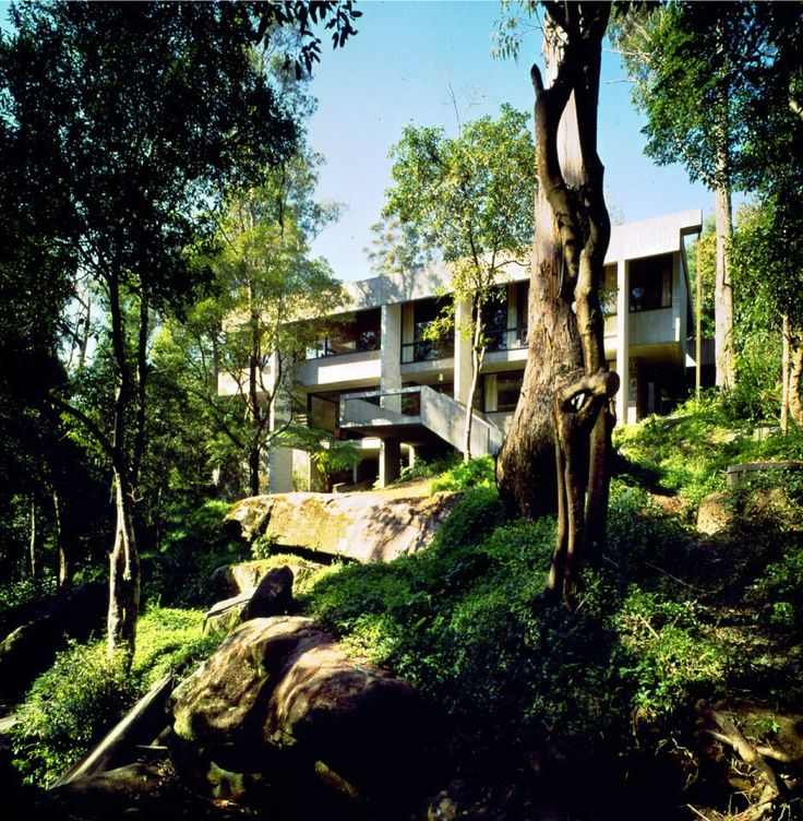 """Penelope Seidler, who has lived in the house since its completion, refers to the site as the typical """"architect's block,"""" with its steep vertical drop and secluded landscape."""