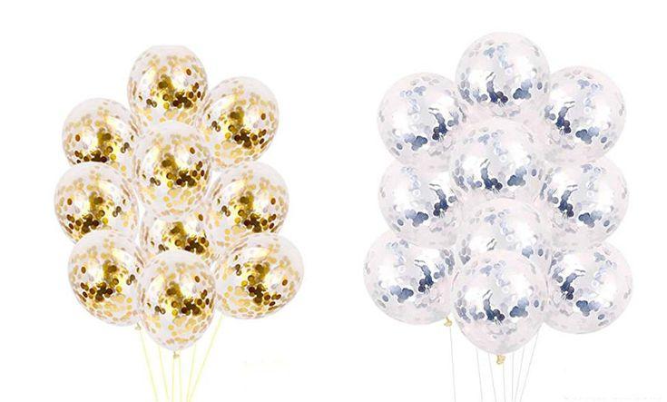 Gold Confetti Balloons - Birthday Party Balloons, Silver Balloons, Gold Balloons, Wedding Balloons, Aniversary Balloons, Graduation Balloons