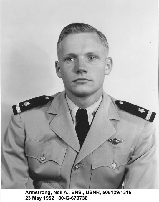 Ensign Neil Armstrong, US Navy Reserve, 23 May 1952. Armstrong was in the reserve after serving in 20 combat missions in the Korean War, would then become a research and test pilot, leading to becoming an astronaut and then the first man to walk on the moon.
