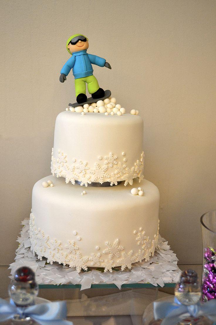 Snowboard Bar Mitzvah Cake