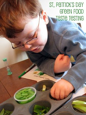 Green Food Taste Testing for St. Patrick's Day at binspiredmama.blogspot.com What a fun way to get kids to try green food!