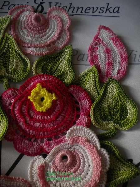 roses, clematis, flowers, dress, crochet