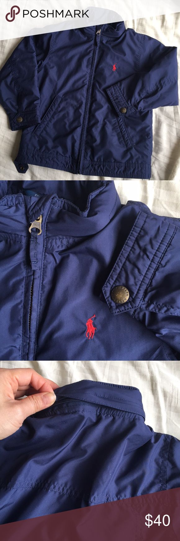 Toddler Boys Ralph Lauren Polo Jacket Gently worn in very good used condition. Boys size 4T. Lined with fleece and warm. Hidden hoodie in jacket collar. Pet and smoke free home! Ralph Lauren Jackets & Coats