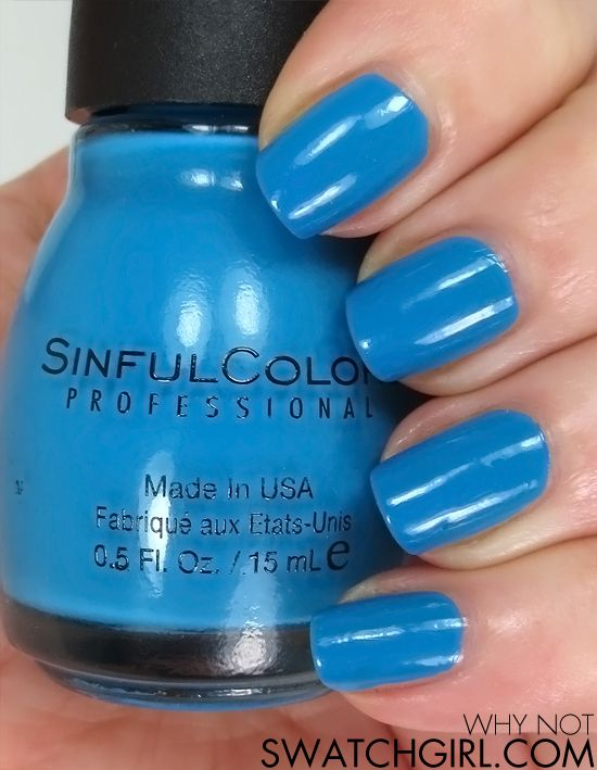 Sinful Colors Why Not nail polish - a great, fun blue.  But it REALLY stains your nails.