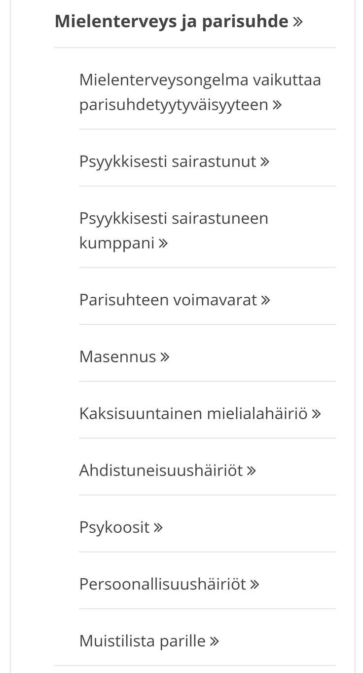 AIHEITA - MIELENTERVEYDESTÄ LIITTYEN PARISUHTEESEEN