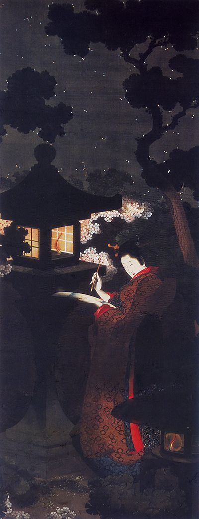 Girl composing a poem under the cherry blossoms in the night, end of the 18th middle of the 19th century,Menard Art Muse...