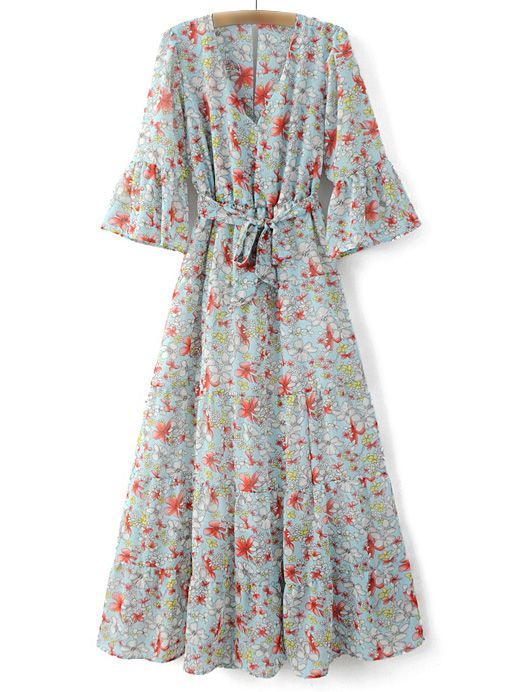 Multicolor Bell Sleeve Tie-Waist Bow Floral Print Maxi Dress 31.99