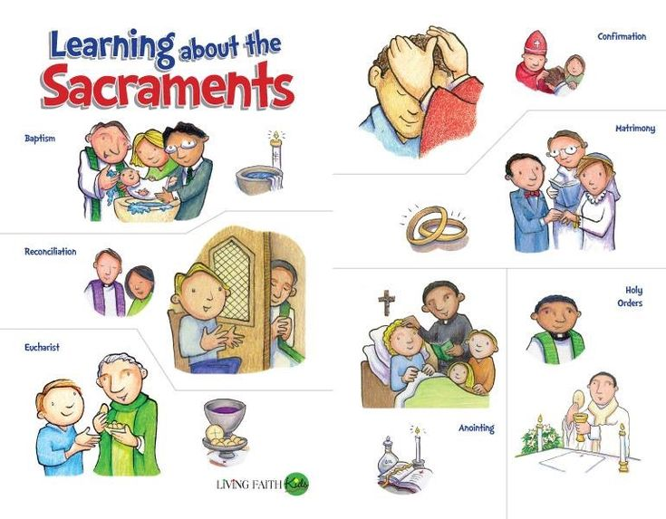 """DID YOU KNOW... The Catholic Church has seven sacraments (baptism, penance, confirmation, holy orders, the Eucharist (Holy Communion), matrimony, and anointing of the sick). The word """"sacrament"""" is from the Latin sacramentum, or """"solemn oath."""" Sacraments are symbols that connect the visible and invisible dimensions."""