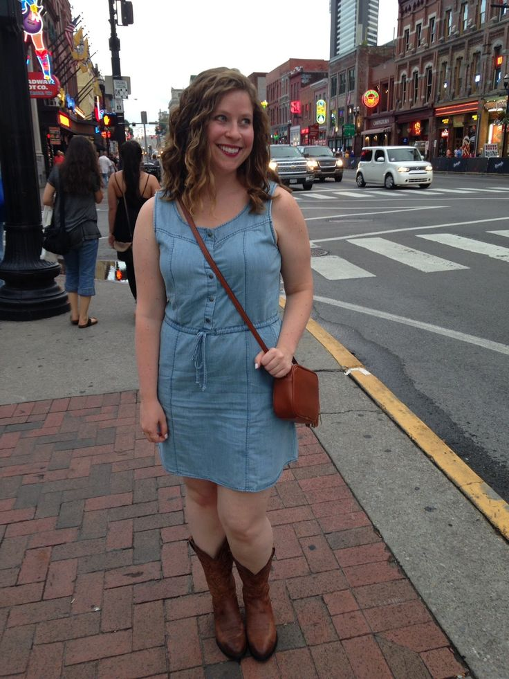Whitney à la mode: What to wear in Nashville- Chambray dress + Cowgirl Boots