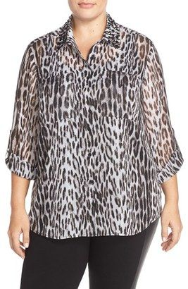 MICHAEL Michael Kors Studded Collar Shirt with Metallic Detail (Plus Size) - Shop for women's Shirt - Black Shirt