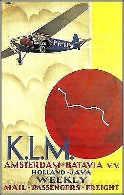 KLM Airlines Amsterdam Batavia 1938 Vintage Poster Print Art Travel