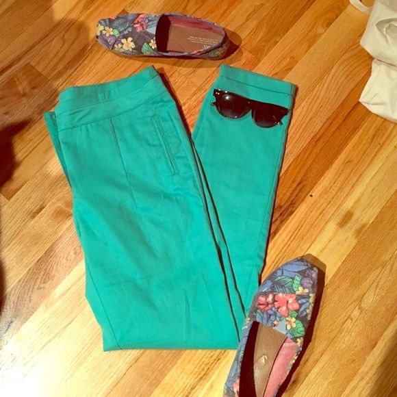 Sea foam slacks Sea foam green dress slacks. Buttons on back pockets. Small cuff on bottom. From European chain store brand. (Size 40) fit like a medium. Lefties Pants Skinny