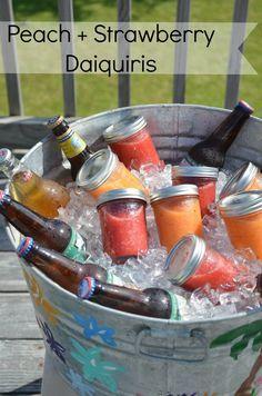 Homemade Peach + Strawberry Daiquiris from JessicaNWood.com