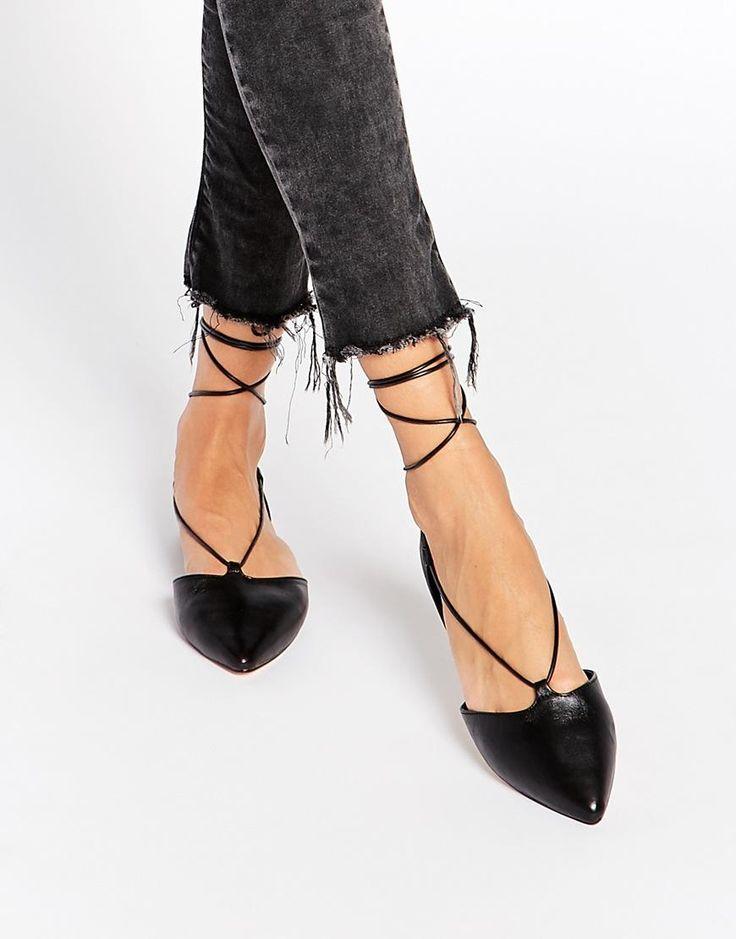 ALDO   ALDO Colyn Black Ghillie Tie Up Flat Shoes at ASOS