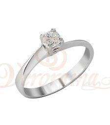 Μονόπετρo δαχτυλίδι Κ18 λευκόχρυσο με διαμάντι κοπής brilliant - MBR_018