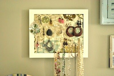 Framed jewelry organizer. I could really use something like this. How about you?
