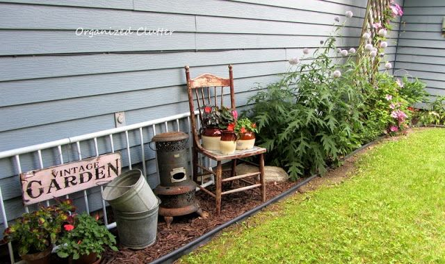 Back yard junk garden vignette - I am madly in love with this...I have the perfect spot!!